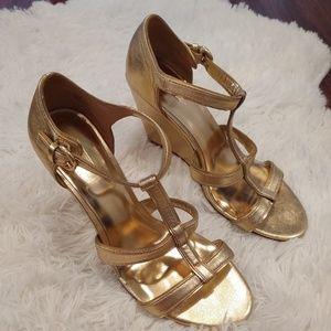 Coach Trixy Gold Wedge Heels